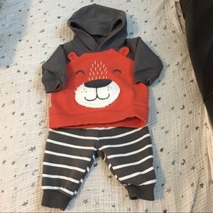 Two piece baby sweatpants and hoodie.